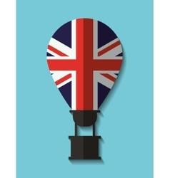 Flag hot air balloon england design vector