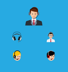 Flat icon hotline set of operator earphone help vector
