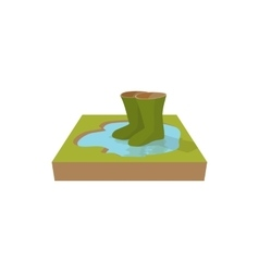 Green rubber boots in a puddle icon cartoon style vector