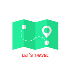 green travel map with pin vector image