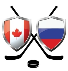 hockey logo- canada vs russia vector image