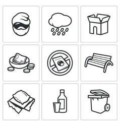 Homeless icons set vector