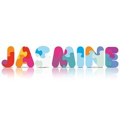 Jasmine written with alphabet puzzle vector