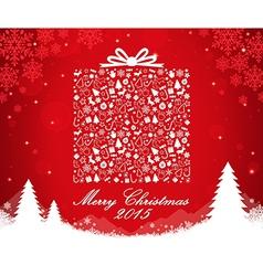 Merry christmas gift box shape vector