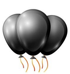 Realistic black balloons with ribbon isolated on vector