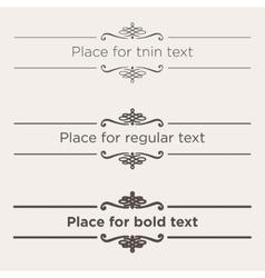 Retro text dividers set vintage border elements vector