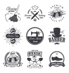 set of vintage workshop emblems vector image vector image