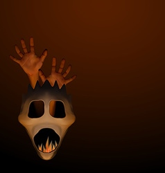 Spooky halloween mask with human hand and frame vector image