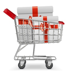 Supermarket cart with gifts vector
