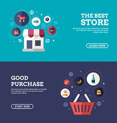The Best Store Good Purchase Set of Flat Design vector image vector image
