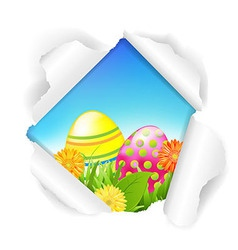 Torn Paper With Flowers And Color Eggs vector image vector image