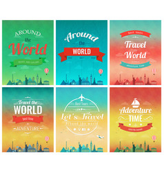 Travel brochure with world landmarks template of vector