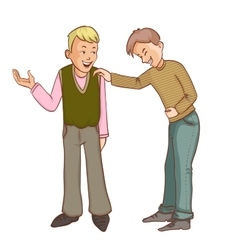 Two happy cartoon boys making jokes vector image