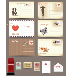 Vintage postcard designs envelopes vector