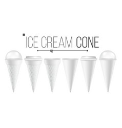 white ice cream cone mock up set for ice vector image vector image