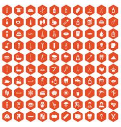 100 hygiene icons hexagon orange vector