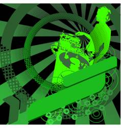 Green girl dj and banner vector