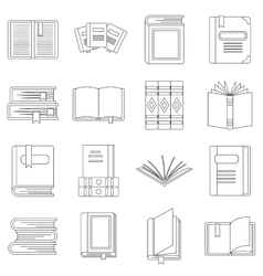 Books icons set outline style vector