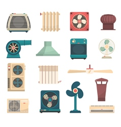 Ventilation Conditioning Heating System Set vector image