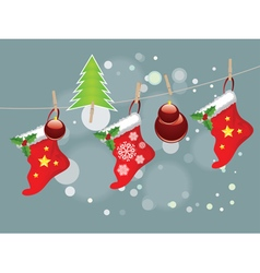 Christmas Stockings on Rope6 vector image