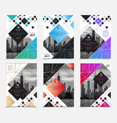 Company report brochure covers set vector