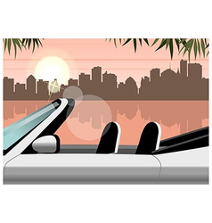 Lakeside convertible city view vector