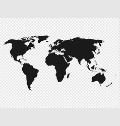 Black world map silhouette on transparent vector