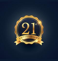 21st anniversary celebration badge label in vector