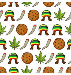 Rasta icons seamless pattern green leaf of vector