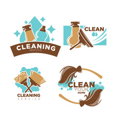 Home cleaning service icons set brooms vector
