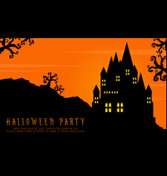 Halloween with scary castle landscape background vector