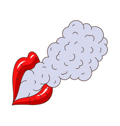 Female lips smoking flat isolated vector