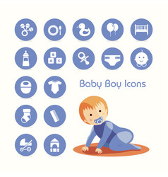 Baby boy crawling and icons set vector