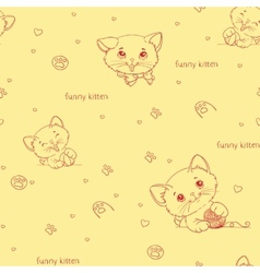 Cartoon seamless pattern with cute catsny cats vector
