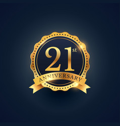21st anniversary celebration badge label in vector