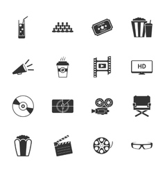 Cinema black and white flat icons set vector