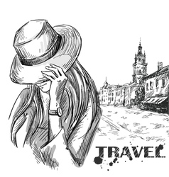 Girl on an old town background vector