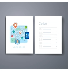 Modern mobile maps and navigation flat icon cards vector