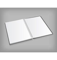 Opened blank notebook on gray background vector