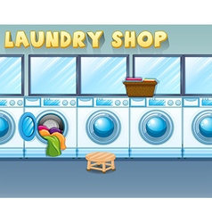 Scene in laundry shop vector