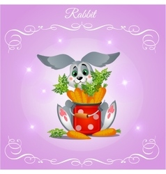Fun rabbit boy with carrots on a purple background vector