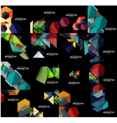 Collection of geometric banners vector image