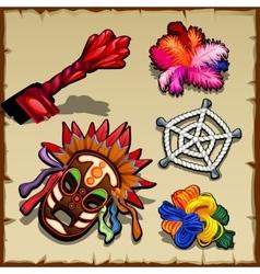 Set of magic paraphernalia key ropes and wool vector