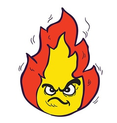 Angry freehand drawn cartoon fire vector