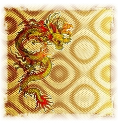Chinese dragon on a gold background of the texture vector image