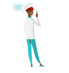 African-american chef cook with speech bubble vector