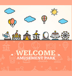 Amusement park welcome card vector