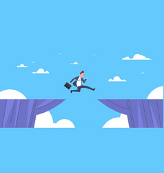 brave business man jump over cliff gap business to vector image vector image