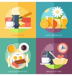 Breakfast icons flat set with coffee time corn vector image