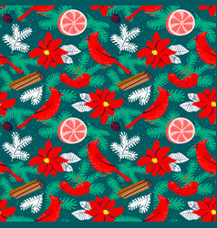 christmas background with poinsettia red flower vector image